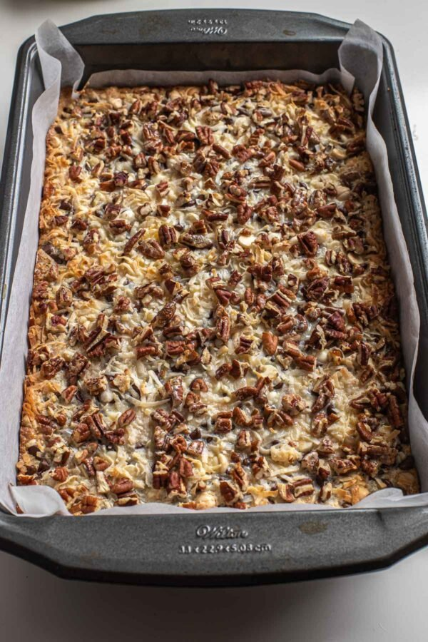 A pan of 7 layer bars straight out of the oven