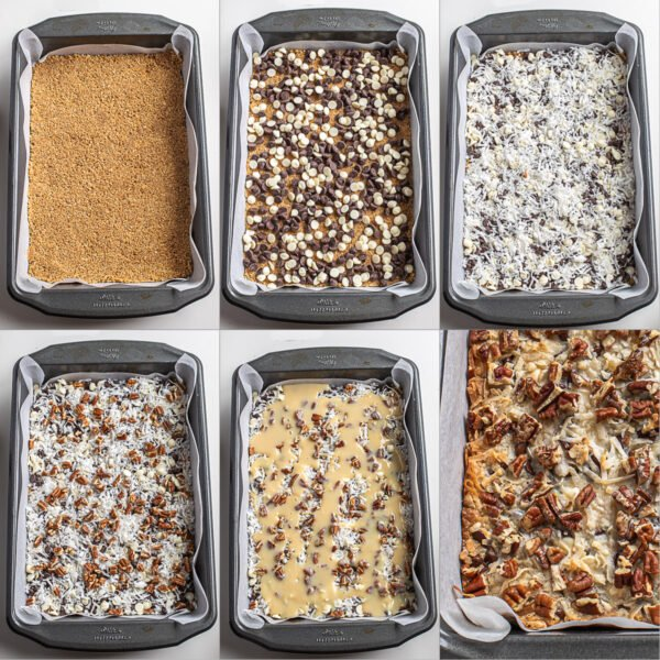 Visual step by step directions for making 7 layer bars