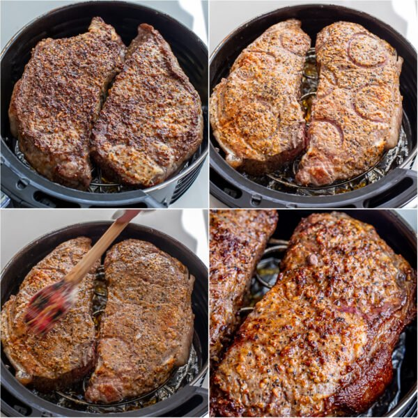 Steak cooking in an air fryer