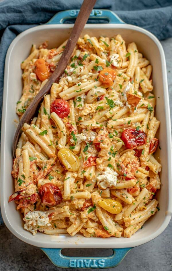 cherry tomato pasta with a creamy feta sauce