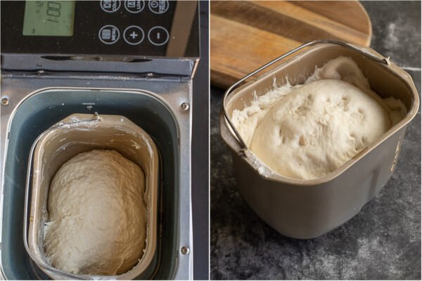 Bread machine pizza dough before and after its rise in the machine.