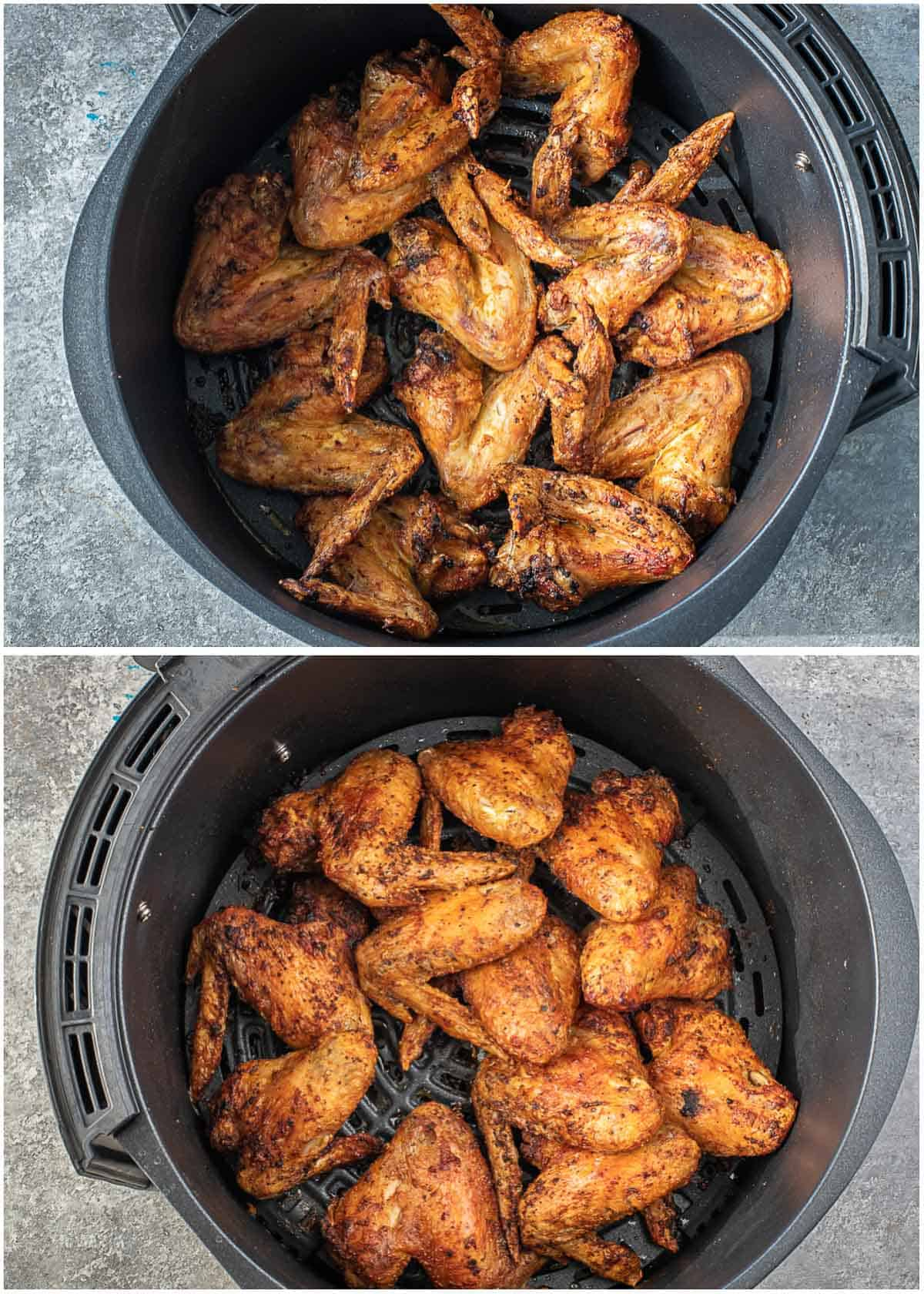 step by step process of cooking the chicken wings in the air fryer.