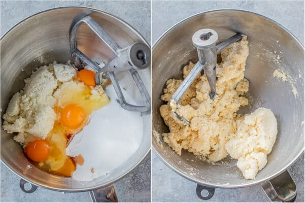 Step by step of making the lazy pierogi dough.