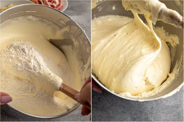 Step by step photos of adding flour into the whipped eggs.