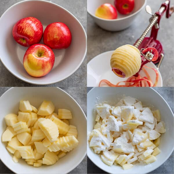 step by step photos of peeling, coring and slicing apples before tossing them with flour.