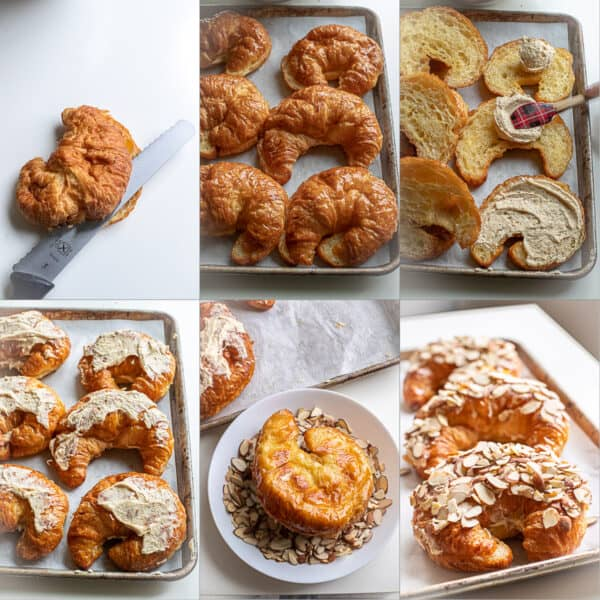 Step by step photos for making the almond croissants.
